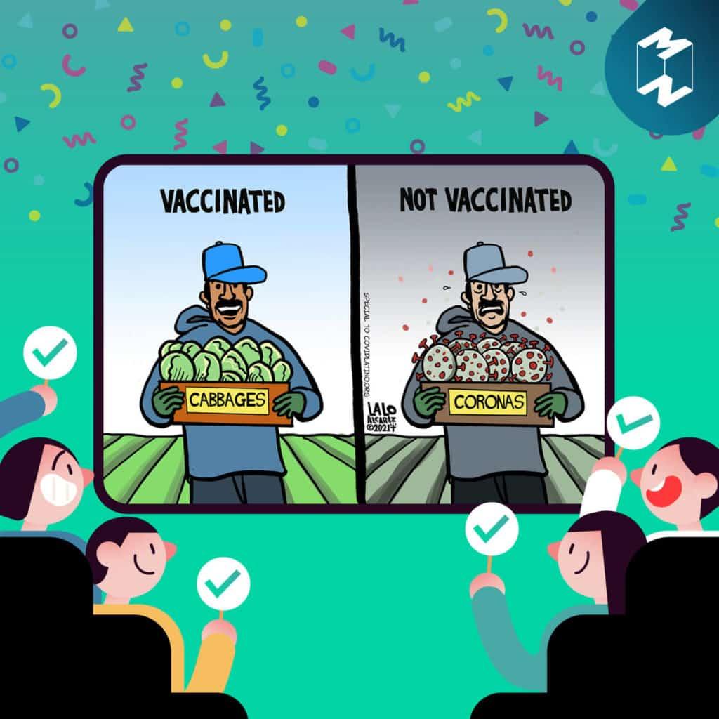การ์ตูนเปรียบเทียบระหว่างคนที่ฉีดวัคซีนแล้ว (Vaccinated) สามารถกลับมาทำงานได้ ต่างกับคนที่ยังไม่ได้ฉีดวัคซีน (Not Vaccinated)
